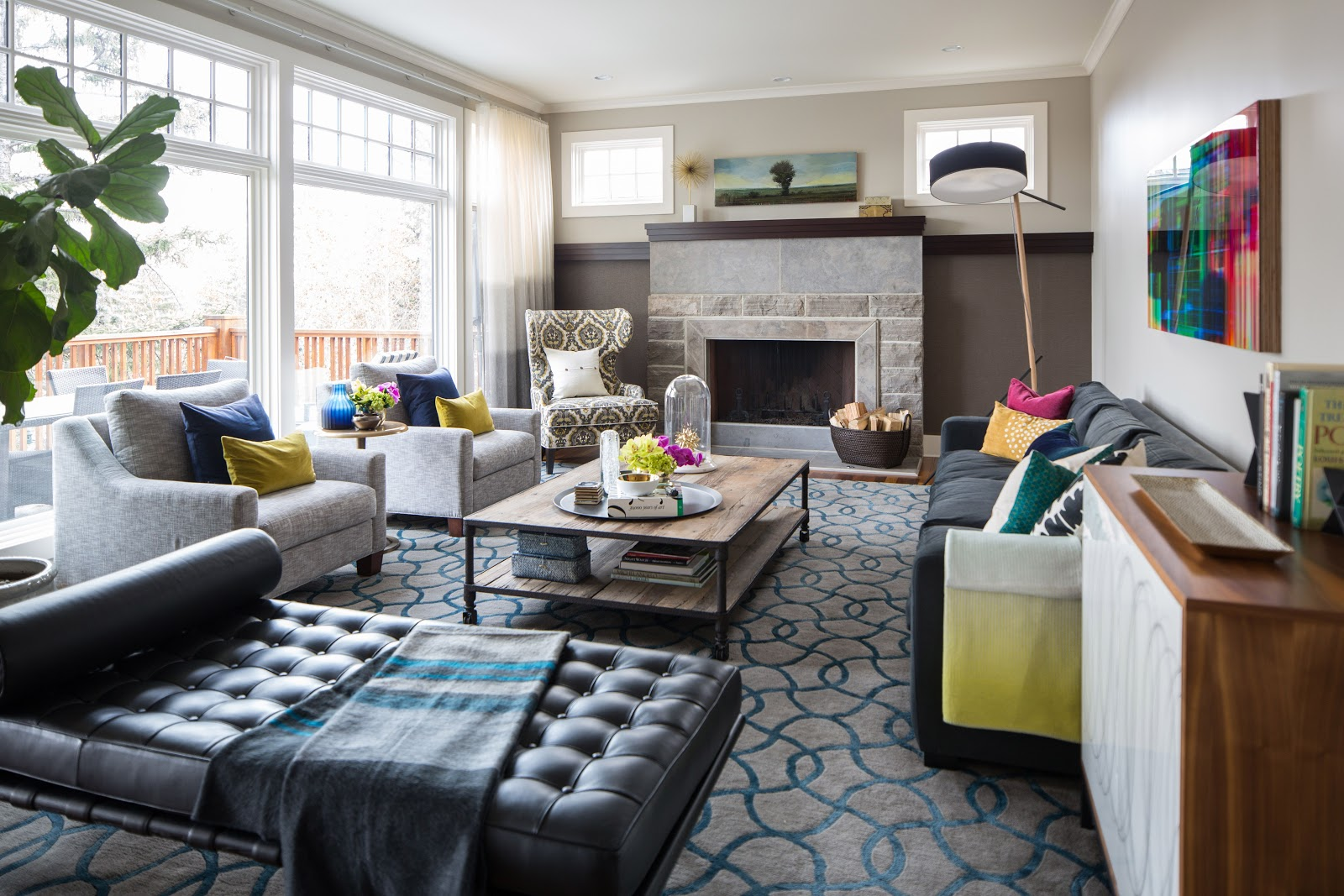 leanne bunnell interiors design in calgary living room custom designed area rug in turqoise and gray