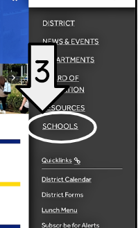 Screenshot of menu with schools highlighted