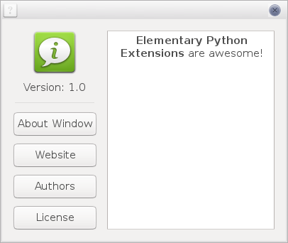 Elementary Python Extensions About window