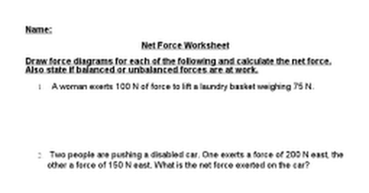 Net Forces Worksheet carolinabeachsurfreport – Force Diagrams Worksheet