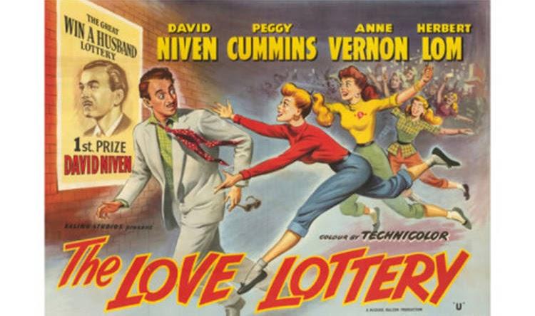 """Cartel promocional de """"La lotería del amor"""", de David Niven"""