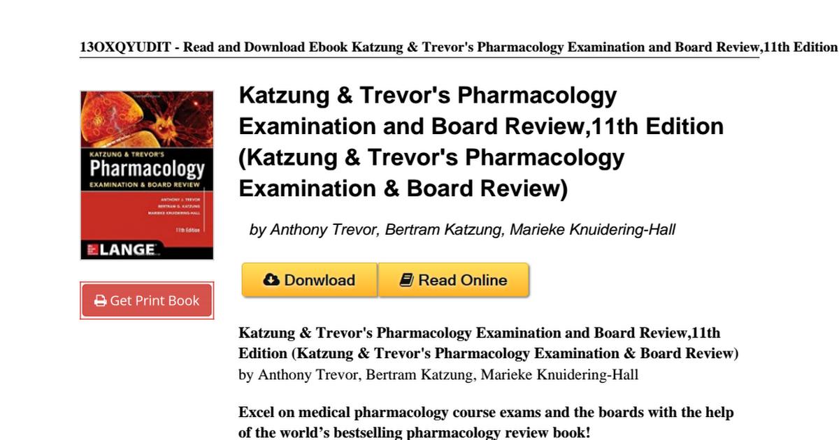 Katzung trevors pharmacology examination edition 0071826351pdf katzung trevors pharmacology examination edition 0071826351pdf google drive fandeluxe Choice Image