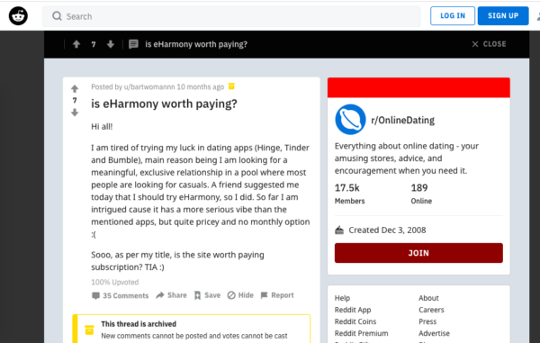 eHarmony review on Reddit - pros and cons, success stories and horror stories