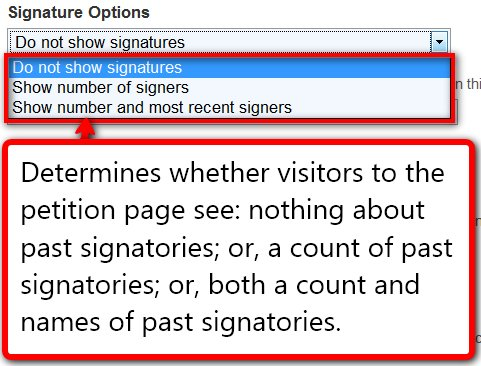 Petition options for signatures in Salsa