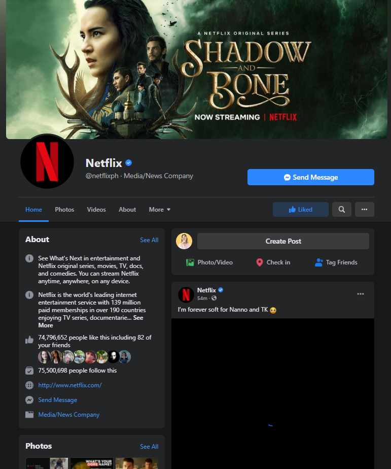netflix facebook page example