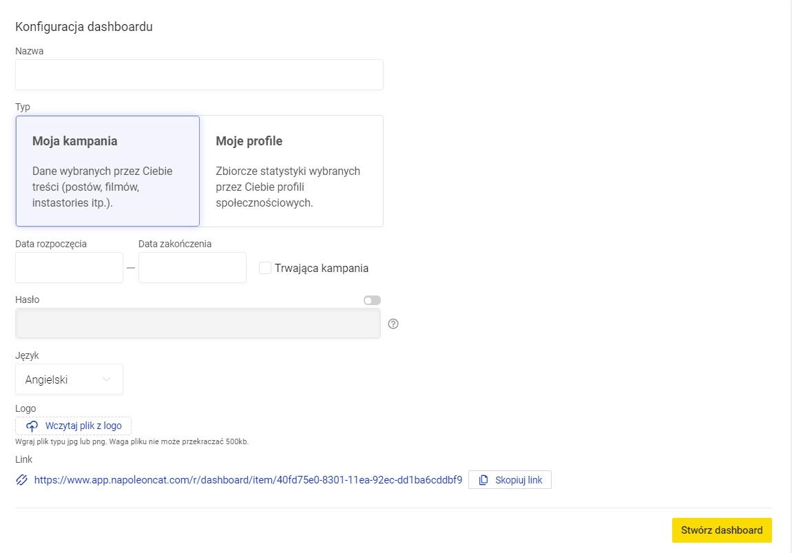 stwórz dashboard dla profili społecznościowych i bloga w NapoleonCat