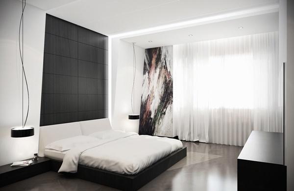 Mẫu phòng ngủ đen trắng được xây dựng bởi kiến trúc sư chuyên nghiệp.