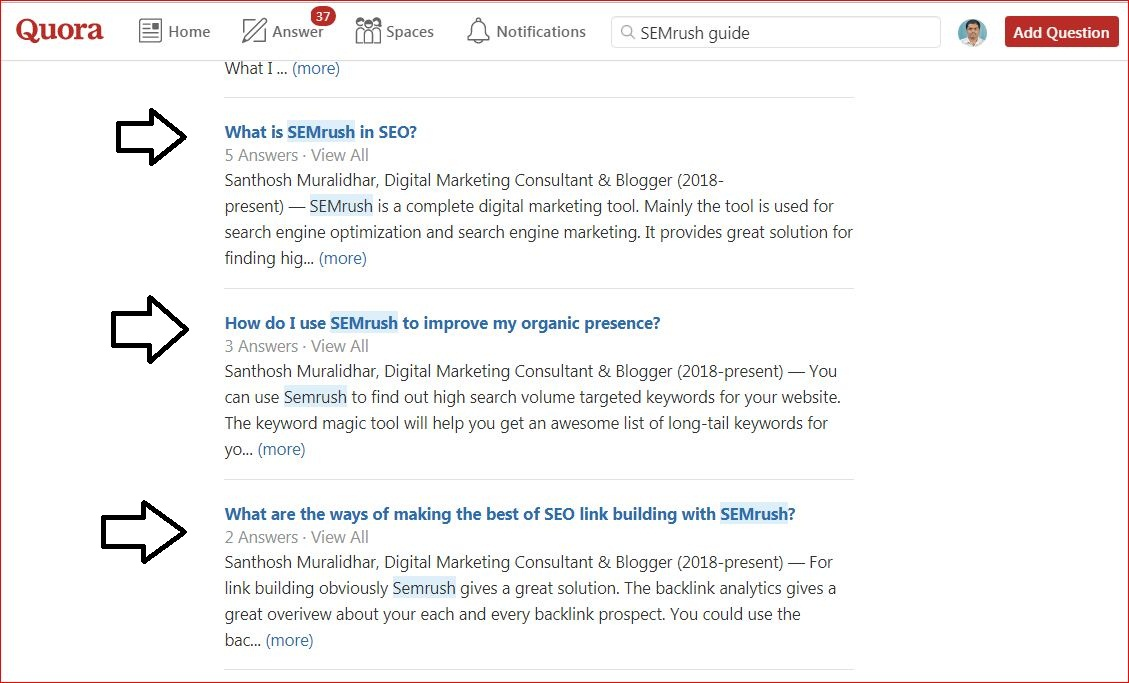 Quora For SEO - Liste de questions