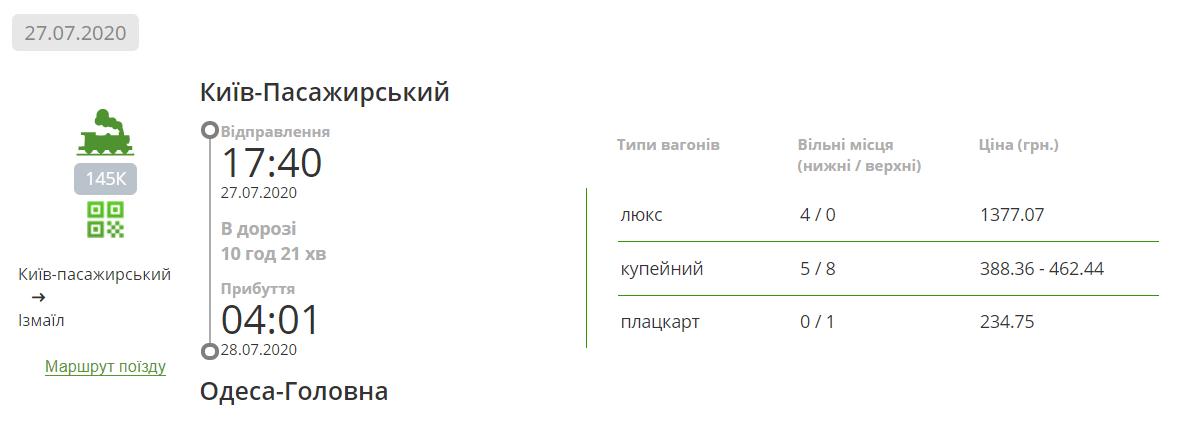 Ціна жд квитка в Одесу