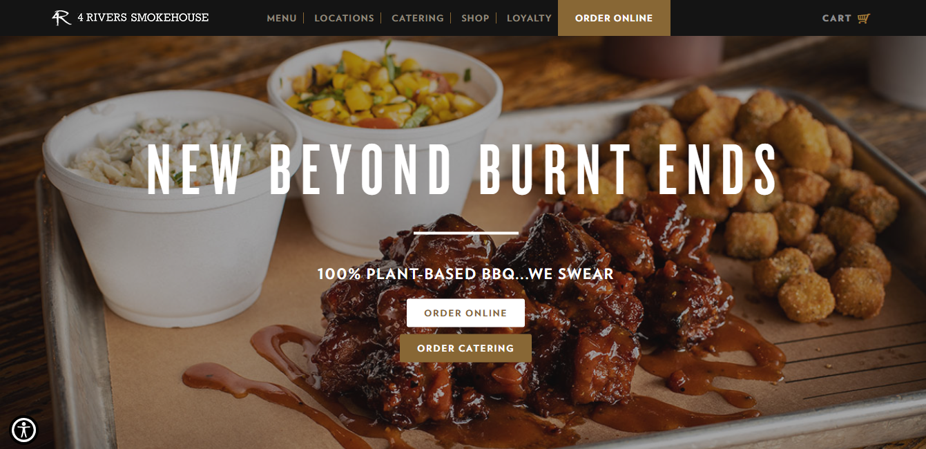 An example of a four rivers smokehouse restaurant website showing ribs