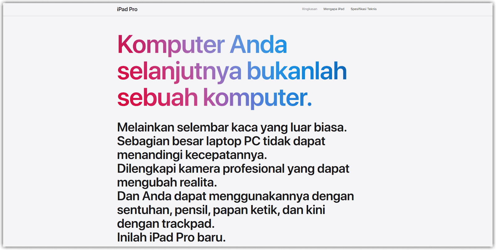 contoh penggunaan copywriting d website Apple Indonesia