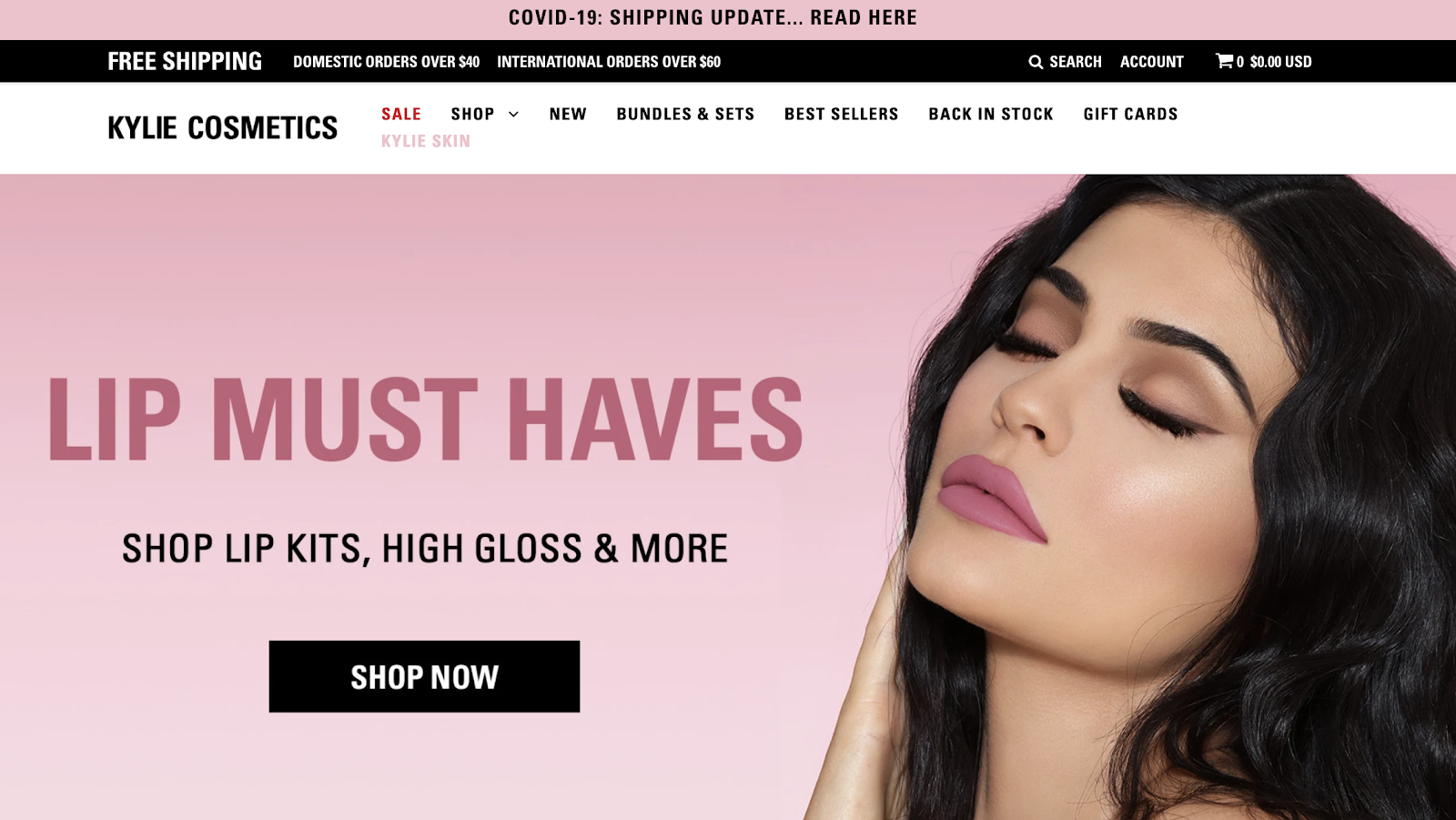 Free shipping offer on kylie costmetics website