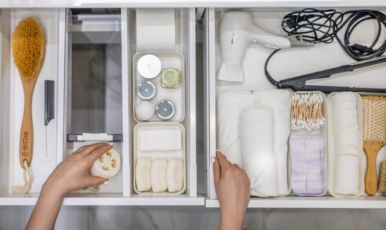 Bathroom drawers organized neatly