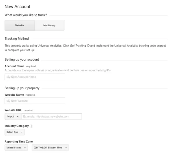 Form to fill to create the Google Analytics account.