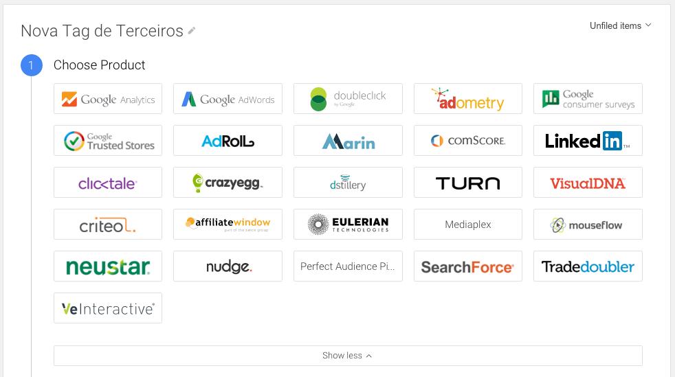 opções de tags produtos diferentes google tag manager