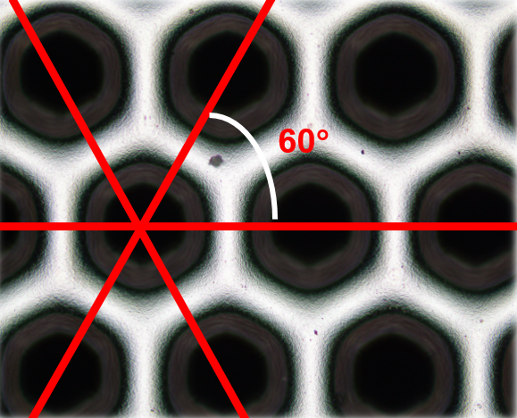 Rotary screen featuring a hexagonal raster with three directions