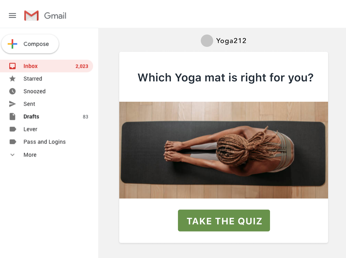 Example of an email you can send to promote your quiz