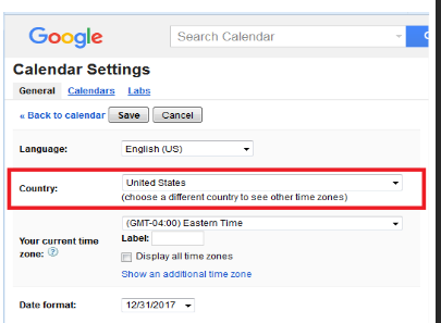 time zones in google calendar