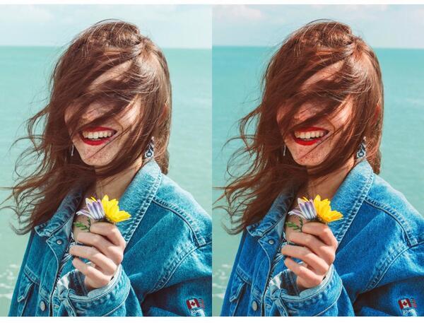 Foto de uma mulher na praia segurando uma flor sendo editada pelo airbrush