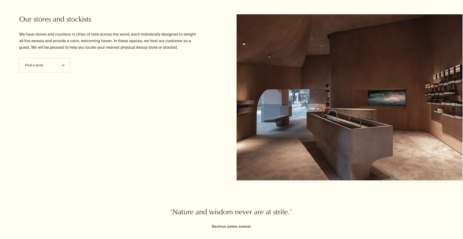 Aesop stockists and stores home page fold showing store photo and description