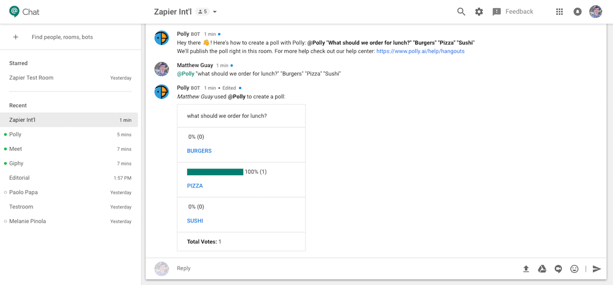 Using Polly bot in Google Hangouts Chat