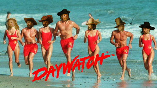 Figures of The Night Watch run along the beach in slow motion!