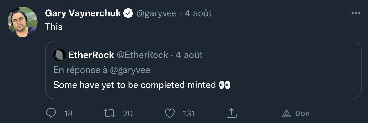 Publication Twitter de Gary Vaynerchuck qui a partagé le projet des EtherRocks, dont les 50 restants ont été mintés