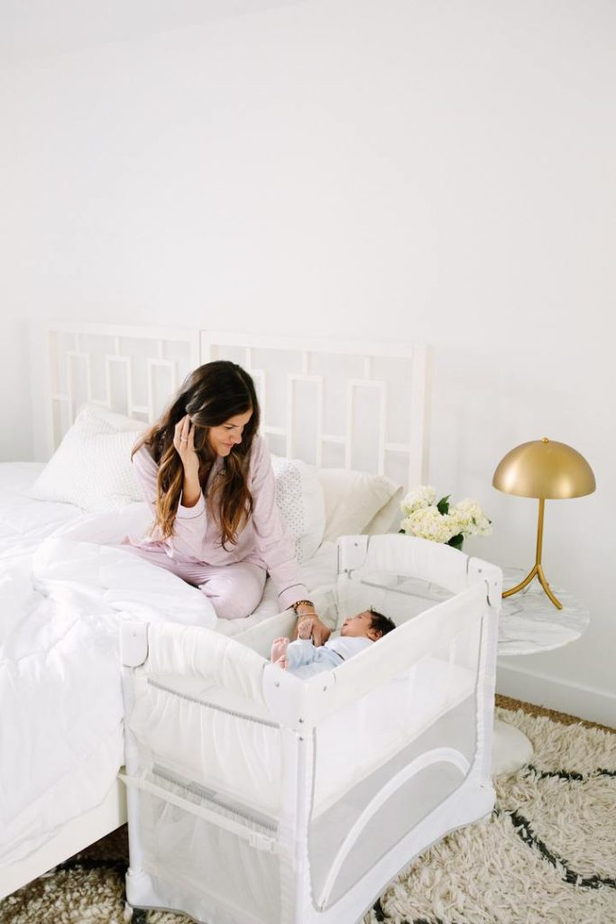 Arm's Reach Co-sleeper review, at bed