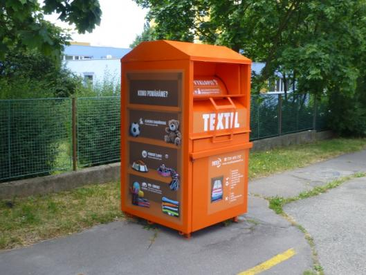 Recycling textile in Prague bin