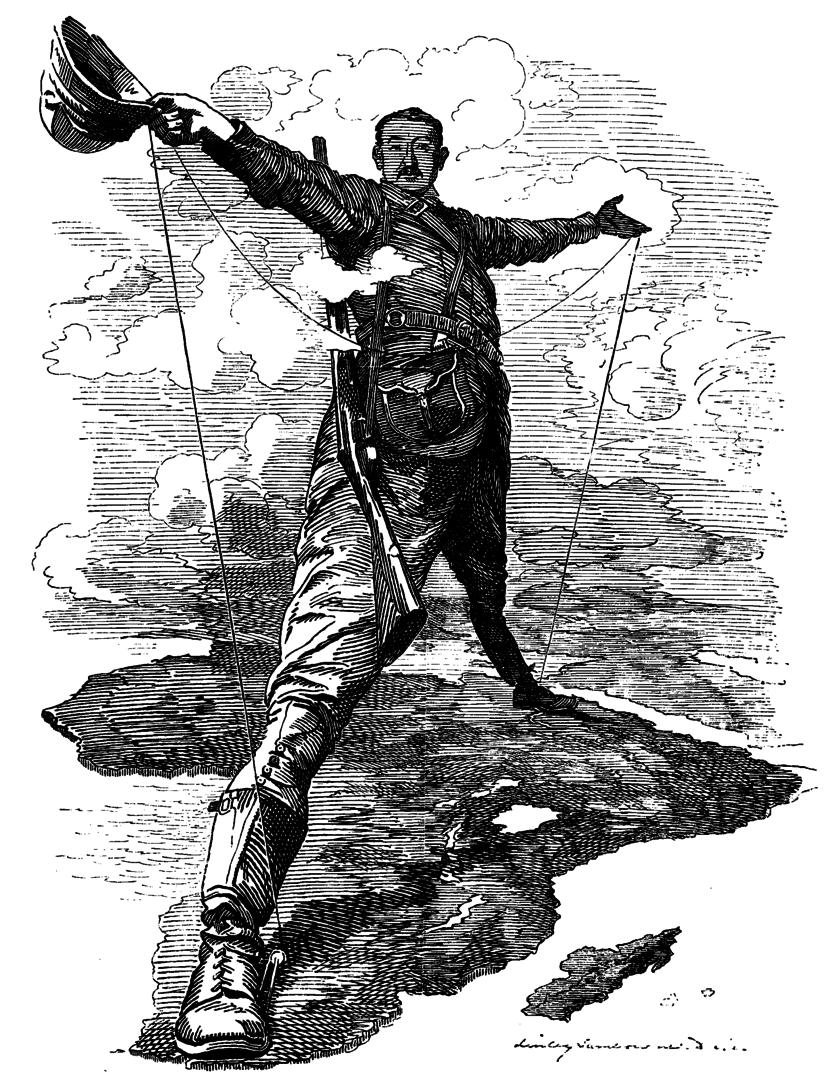 A imagem do explorador europeu colocando seus pés do norte ao sul da África é um dos símbolos do imperialismo (Imagem: Wikimedia Commons)