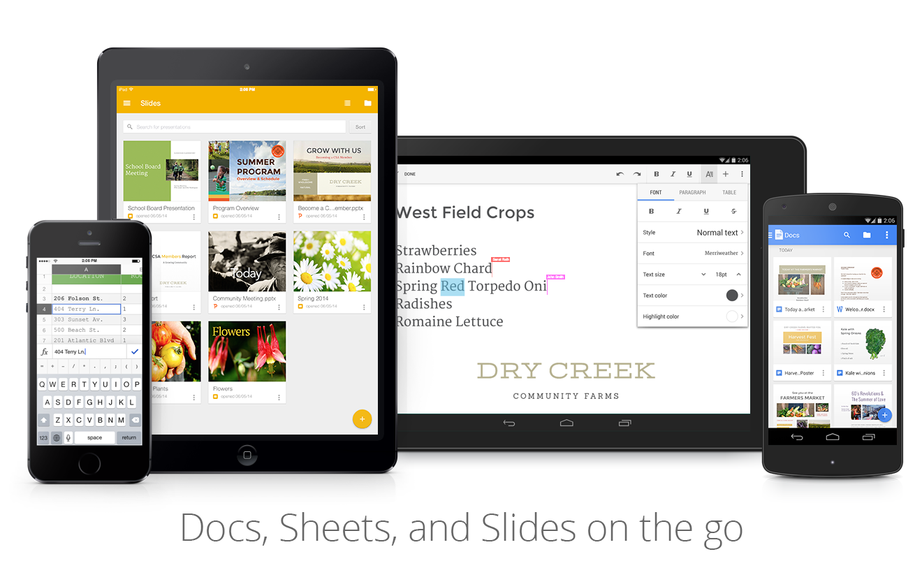 Mobile devices featuring Docs, Sheets and Slides apps