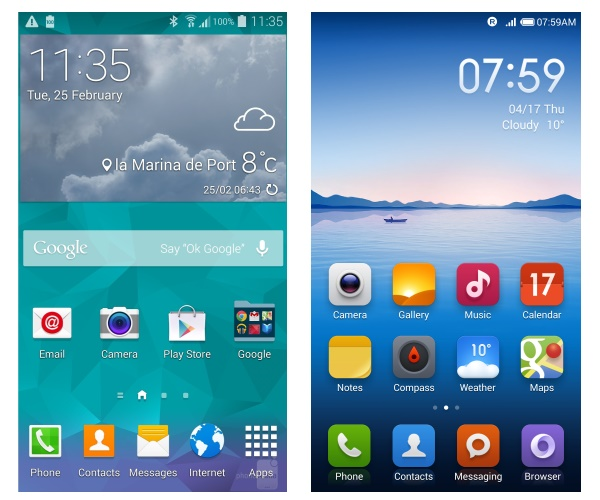 Samsung TouchWiz UI on S5, and MIUI v5