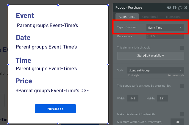Displaying an event summary popup for a Ticketmaster event