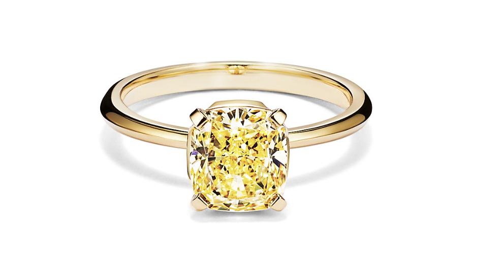 cushion cut yellow diamond ring