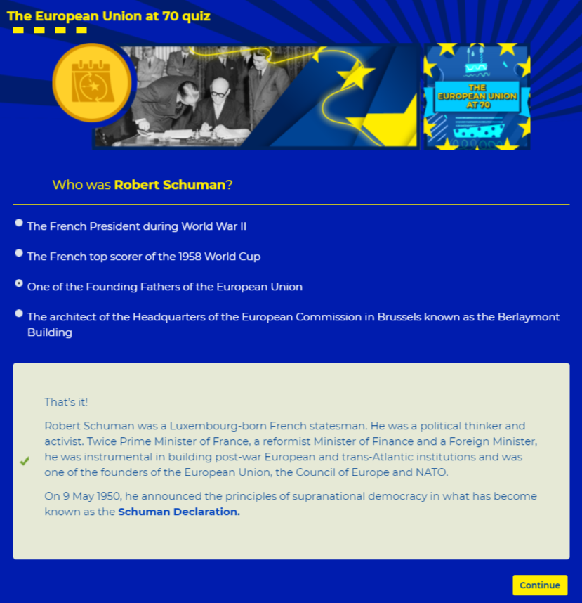 EU quiz question with correct answer