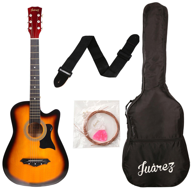 Juarez Acoustic 38 Inch Cutaway, Guitar JRZ38C with Bag, Strings