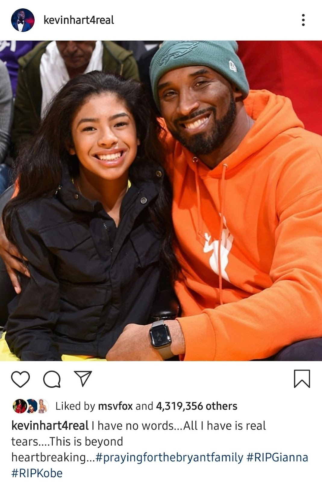 kevinhart4real Liked by msvfox and 4,319,356 others kevinhart4real I have no words...All I have is real tears....This is beyond heartbreaking...#prayingforthebryantfamily #RIPGianna #RIPKobe