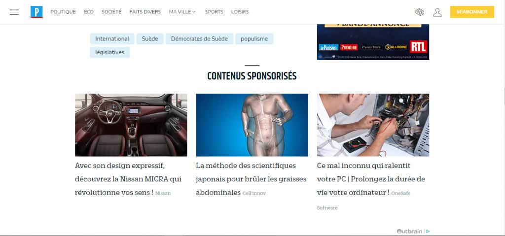 Image illustrant les publicité taboola pour l'article qu'est-ce que le webmarketing de Digital Cover