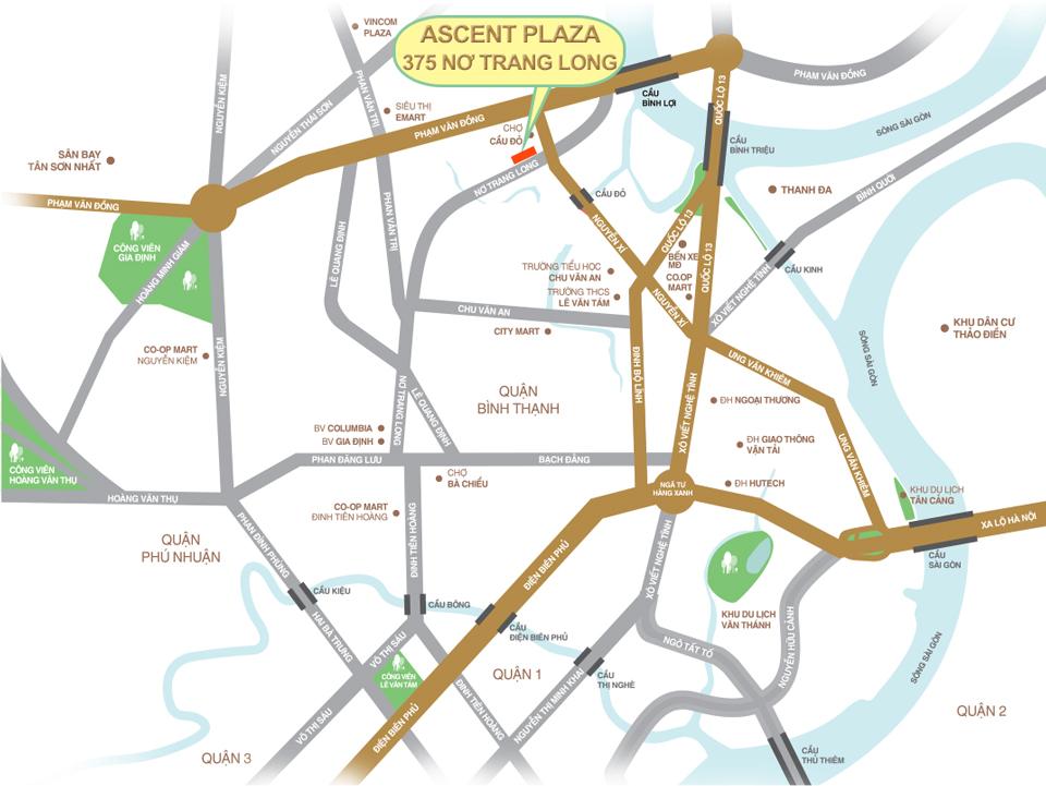 Vị trí căn hộ Ascent Plaza Bình Thạnh