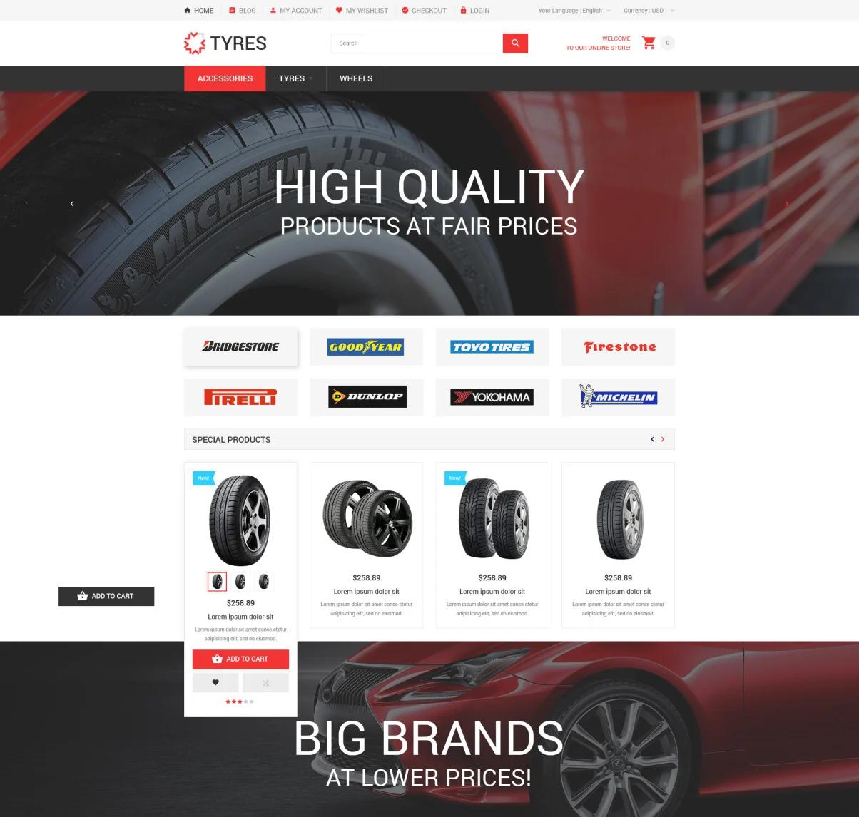 Car Wheels Online Store Magento theme