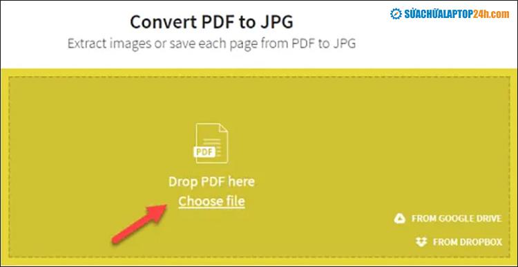 Click Choose File để tải lên tệp PDF