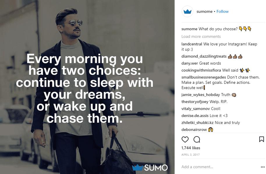 Sumome Instagram comment CTA