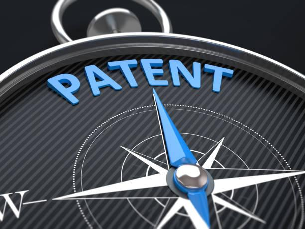 Patent 3d render image.  Compass needle pointing the blue word patent. patent stock pictures, royalty-free photos & images