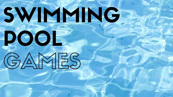 the words Swimming Pool Games superimposed over water
