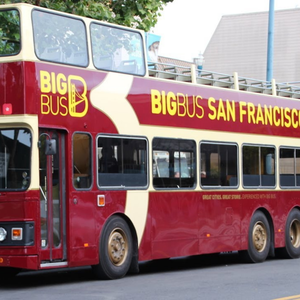 A red Big Bus San Francisco tour bus