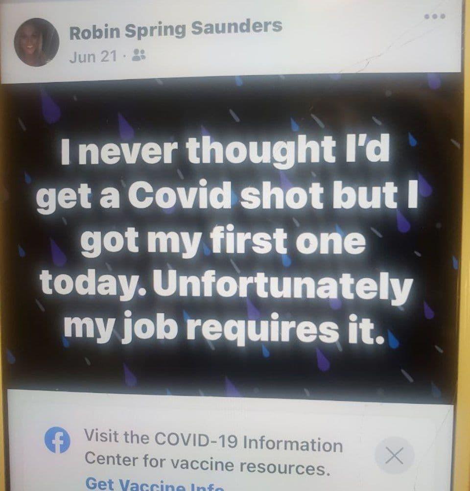 Photo of Robin Spring Saunders's Facebook on June 21.