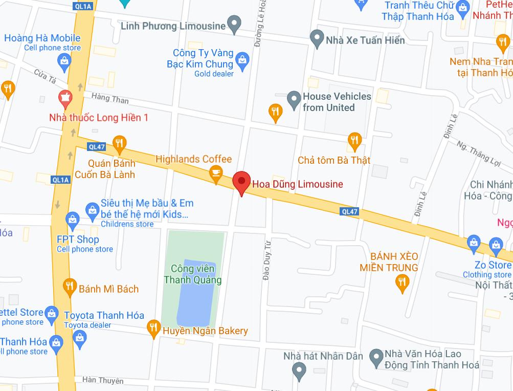 Địa điểm đón/trả khách tại Thanh Hóa