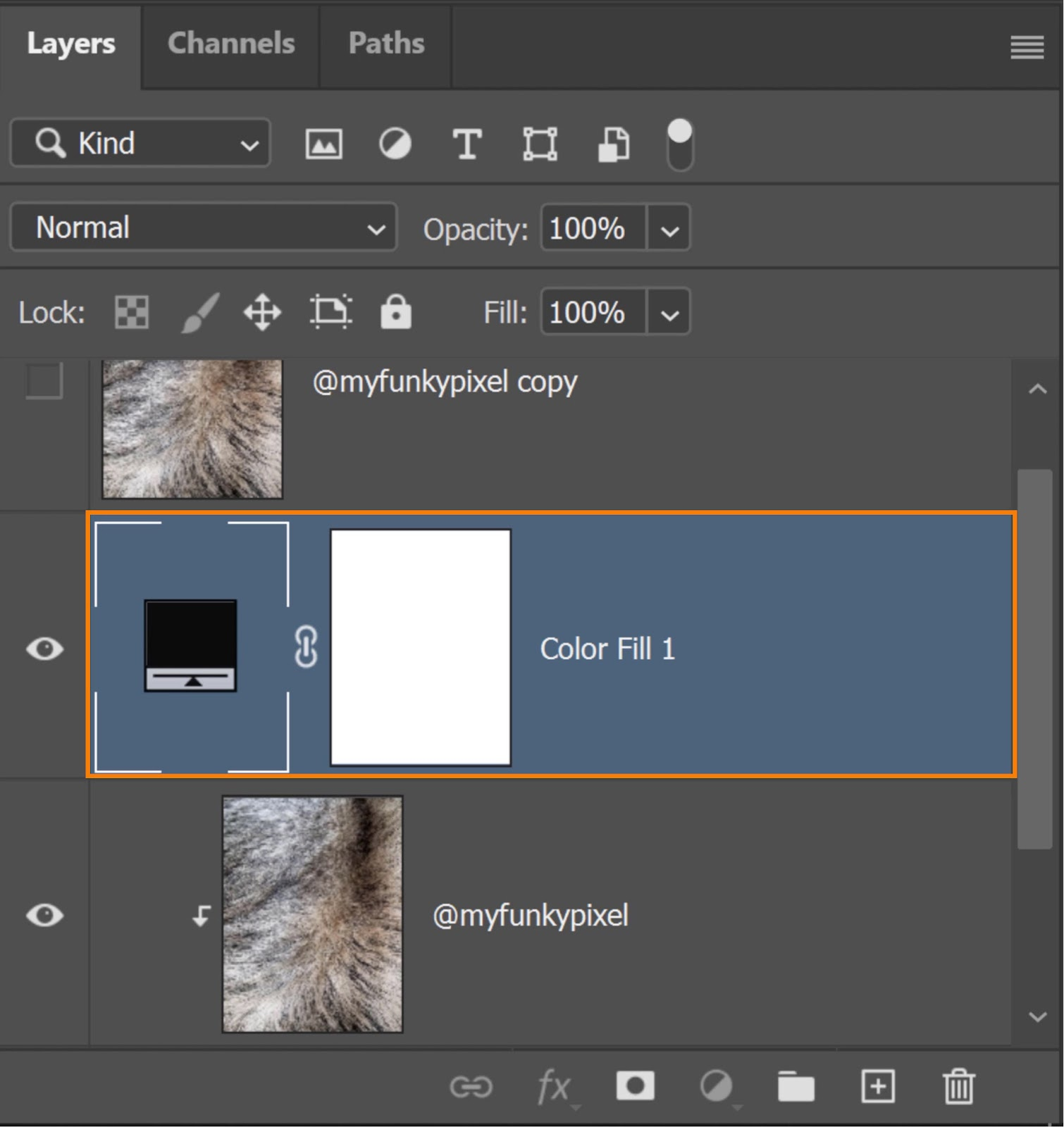 Place the Color Fill layer at the bottom of the layer stack