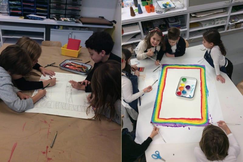 Avenues New York 2nd graders work on their carpet designs