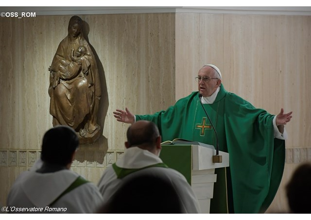 Pope Francis delivering his homily at Mass in the Santa Marta chapel. - OSS_ROM